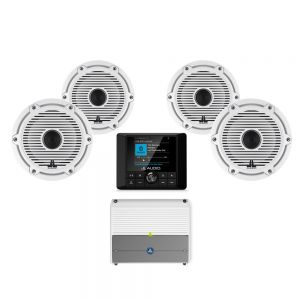 """JL Audio MM50 & Amplifier With 6.5"""" & 7.7"""" Gloss White Coaxial Speakers Bundle"""
