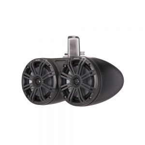 """KM Marine 6.5"""" (165 mm) Dual Tower Coaxial Speaker System - Charcoal LED Grills"""