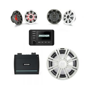 """KICKER Audio KMC4 With Amplified 10 Subwoofer and 6.5"""" & 7.7"""" Speakers Bundle"""